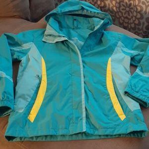 L.L.Bean XL 18 girls lightweight jacket aqua blue